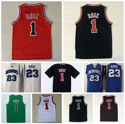 sports shoes 59613 e29ae NWT 1 Derrick Rose Jersey Throwback Memphis Tigers College Derrick Rose  Basketball Jerseys Vintage Retro Shirt Red Black White
