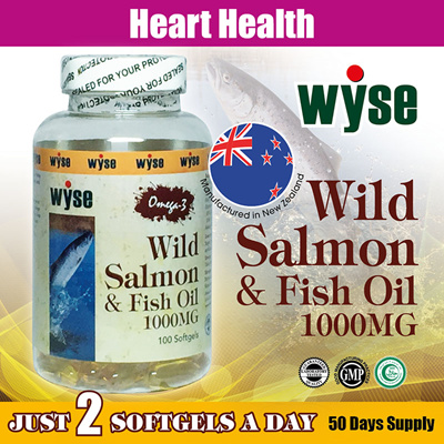 NZ Wyse Halal Omega-3 Wild Salmon and Fish Oil 1000mg 🔥100 Softgels  🔥Support Heart Health