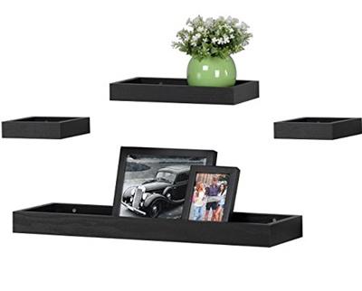 Awe Inspiring Ok Furniture Multilength Floating Shelves Ledge Shelf Black Oak 22 Length Set Of 4 Interior Design Ideas Gentotryabchikinfo