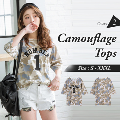 a0dbeac23 OB DESIGN ☆ OBDESIGN ☆ ORANGEBEAR ☆ COTTON LETTER PRINTED CAMOUFLAGE  LONGLINE TOPS ☆ 2 COLORS