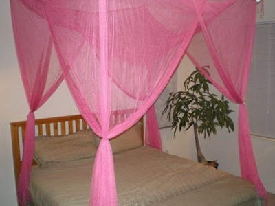 Octorose 4 Poster Bed Canopy Netting Functional Mosquito Net Full Queen King Hot Pink