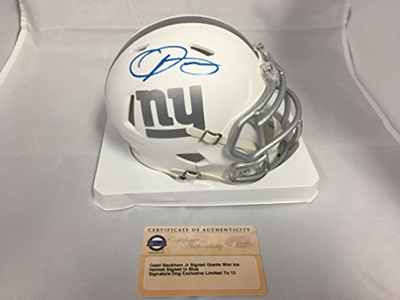 competitive price 00d4a 4b984 Odell Beckham Jr Autographed Signed New York Giants Mini Helmet Ice Helmet  EXCLUSIVE #