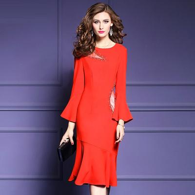 e923a5f541769 office work Dress new 2018 hot Europe Spring autumn Clothes women elegant  plus size S XXXL runway la