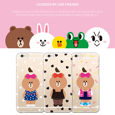 [Officially Licensed Product] Line Friends Choco Clear Jelly Case for  iPhone + Samsung Galaxy