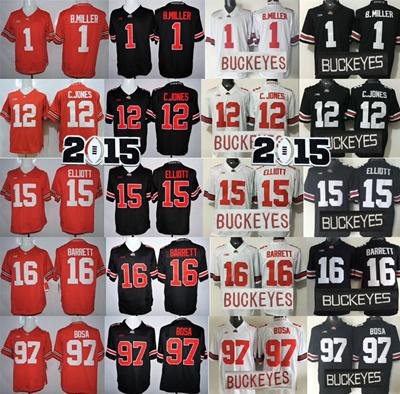 best sneakers c3d21 f8393 Ohio State Buckeyes College Football Jerseys 1 Braxton Miller 12 Cardale  Jones 15 Ezekiel Elliott 16