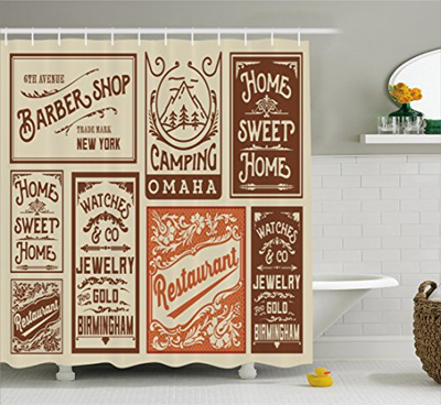 Old Newspaper Decor Shower Curtain By Ambesonne Advertisement Signs Barber Shop Restaurant Camping