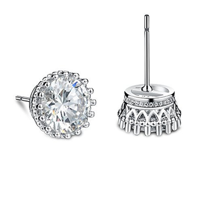 Olen Cubic Fake Diamond Stud Earrings Studs For Women Hypoallergenic White
