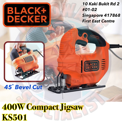 On Promotion NowBlack And Decker 400W Compact Jig Saw / Jigsaw Model KS501  [Up 45 Deg Cut For Wood Aluminum Metal]