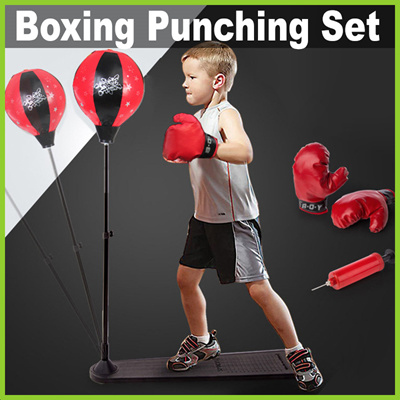 Adult Kids Punching Ball Bag Boxing Punch Exercise Sports Set With Gloves TB