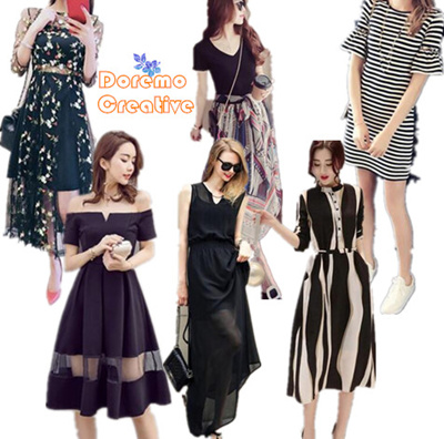 Qoo10 v womens clothing one piece dress short sleeve v neck chiffon print party dress summer fandeluxe Image collections
