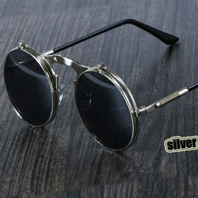 online Steampunk Sunglasses Round Metal OCULOS De Sol Women Style Retro  Flip Circular Double Metal S 41fc8d3116