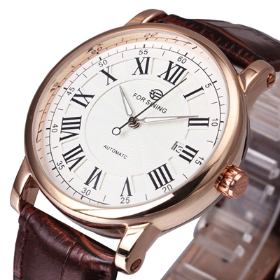 online WINNER Luxury Men Automatic Watch Retro Mechanical Man Wristwatch Black Leather Band Luminous