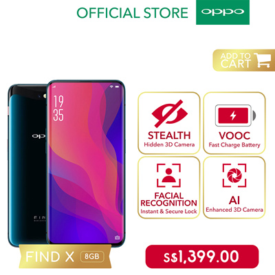 OPPOOPPO Find X Smartphone   Dual SIM   6 4in Panoramic Arc Screen   3D  Facial Unlock   2yrs Warranty