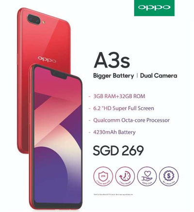 Ready Stock Oppo A3s Local 2yrs Official Warranty / FREE CASE AND SCREEN  PROTECTOR.