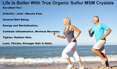 Organic Sulfur Crystals - 99 9% Pure  Premium MSM Supplement - Natural MSM  Crystals and Solution