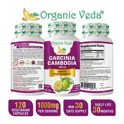 Organicveda Garcinia Cambogia Veg Capsules Fruit Rind With Standardized Hca Hydroxycitric Acid