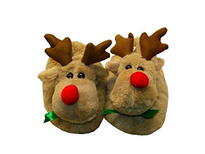 7076445ccded Qoo10 - (Orly Shoe) Christmas Plush Reindeer Slippers-   Shoes
