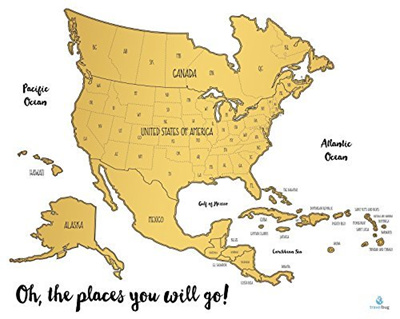 Qoo Our Neck Of The World Scratch Off Map Travel Tracker - Us map travel tracker