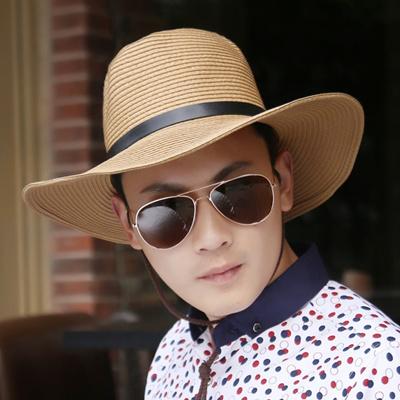 6df1a8b697a Qoo10 - Outdoor hats Sun hats men  s Beach straw hats summer Korean wave  le...   Men s Bags   Sho.