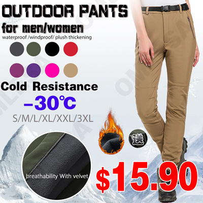 e481bc96c04 Outdoor pants with velvet for men-women waterproof windproof plush  thickening  cold resistance  bre