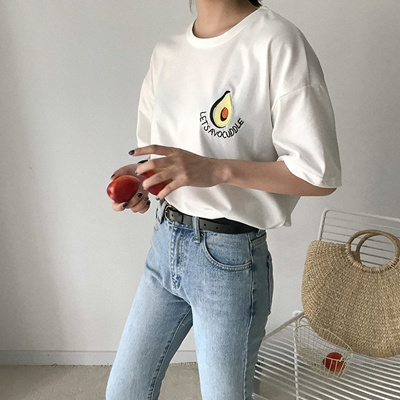 825b55673b5 Qoo10 - outlet 2018 New Style Summer Cute Avocado Embroidery Short Sleeve T-sh...    Women s Clothing
