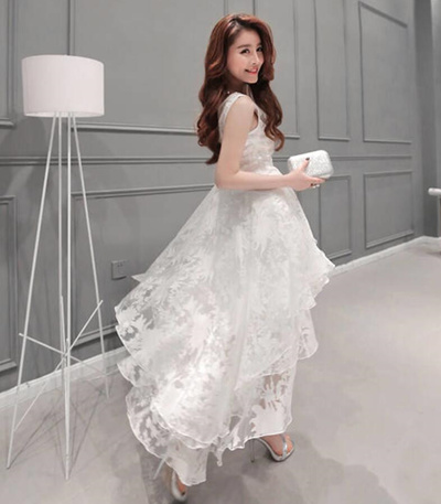 35a9f6021766b outlet 2018 summer Women printing Organza Dress White irregular Dress Sexy  Slim Party Dresses vestid