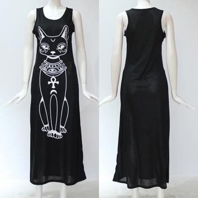362bbecfa3db outlet HiloRill Cat Print Long Maxi Dress Women 2018 Summer Boho Beach  Bodycon Dress Elegant Evening