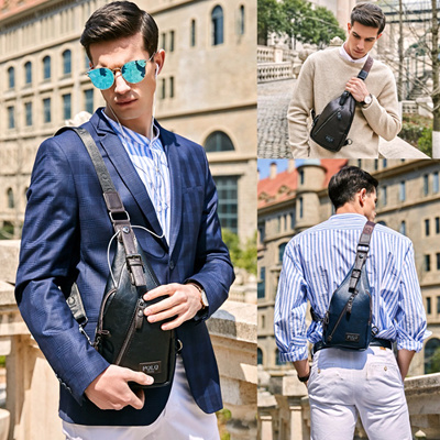 b760c16f8e64 outlet VICUNA POLO Famous Brand Theftproof Magnetic Button Open Leather Mens  Chest Bags Fashion Trav