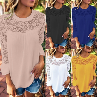 5518a35858a632 Oversize Women Round Neck 3/4 Sleeve Lace Crotch Splice Chiffon Loose Tops  Blouse