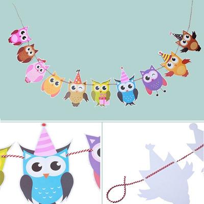 qoo10 owl diy models birthday party decor bunting banner kids