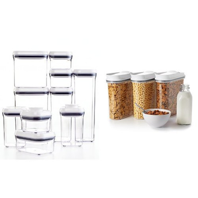 OXO Good Grips 10-Piece POP Container Set White and OXO Good Grips 3 Piece  Cereal Dispenser Set Bun