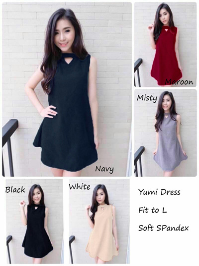 Pakaian Wanita Yumi Dress Dress Wanita Dress Putih Gaun Pesta