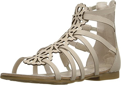 c3cac19319ebbc Qoo10 - Pampili Girls Gladiator Open Toe Flat Sandals Silver Ankle ...