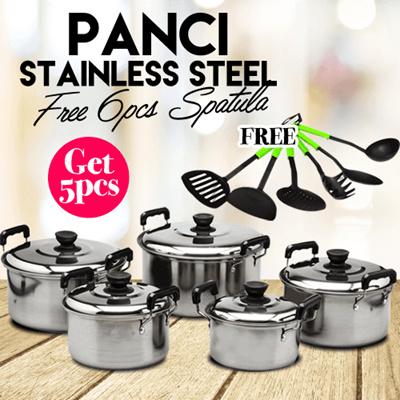 Panci Set Isi 5 Stainless Steel qoo10 panci masak stainless steel isi 5 pcs bonus sodet