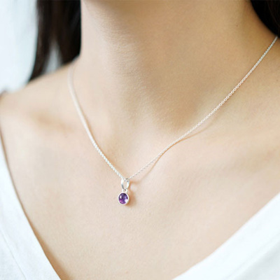 6aff3b65a 390396SAM February Droplet Pendant + silver chain necklace(45cm) + Gift  Pandora Case