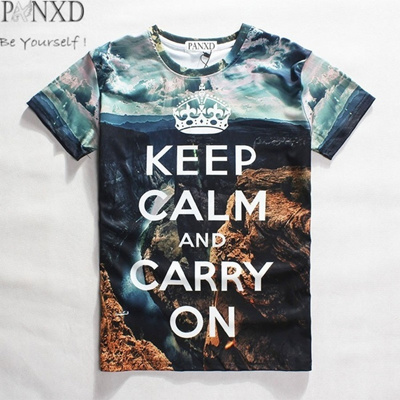 d25083ab5 PANXD Keep Calm and Carry On Unisex 3d Printed T Shirts Cool Slim Fit hip  hop
