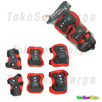 Qoo10 - Pelindung Lutut dan Tangan Anak   Deker Sepatu Roda ( Merah ... f62fb5b4c1