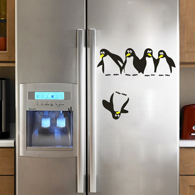 Penguin refrigerator sticker fridge decals kitchen vinyl wall stickers wallpapers for refrigerator