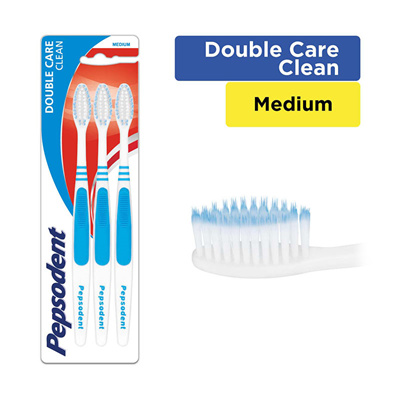 Pepsodent Double Care Clean Sikat Gigi Medium Multipack Isi 3 ... 2b11027658