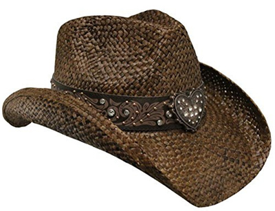 Peter Grimm Ltd Womens Flint Metal Heart Bling Straw Cowgirl Hat -  Pgd9090-Blk- f25b7cac197