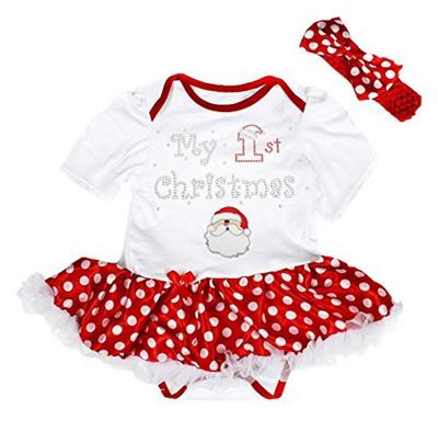 Qoo10 - Petitebella My 1st Christmas Baby Dress Santa Claus Red Bodysuit Polka... : Baby & Maternity