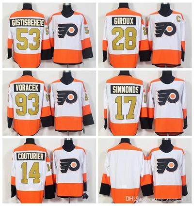 sports shoes 8e742 49c73 Philadelphia Flyers 50th Anniversary Jerseys Ice Hockey 53 Shayne  Gostisbehere Jersey 93 Jakub Vorac