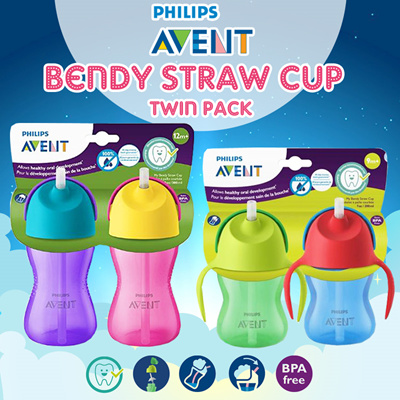 622131549 QPRIME BESTSELLER [TWIN PACK] PHILIPS AVENT BENDY STRAW CUP