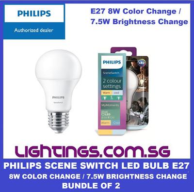 7 8w Of Color Brightness Singaporephilips Philips Led Change 5w 2 Scene Lighting Bundle E27 Switch Bulb UGjzLpqMSV