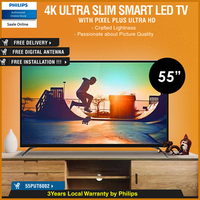 PHILIPSPHILIPS 55 inch SMART LED TV of ultra slim 4K with warranty by  Philips 55PUT6002 FOC DIGITAL ANTENNA