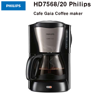 PHILIPSPhilips Café Gaia HD7568 Coffee maker With glass jug Black metal New