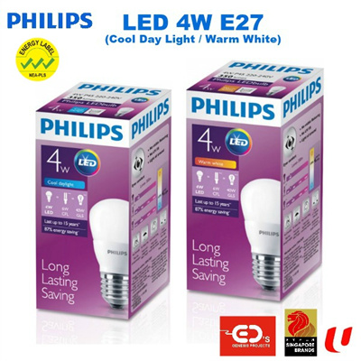 Philips LED 4W E27 Bulb (Available In Cool Day Light / Warm White)