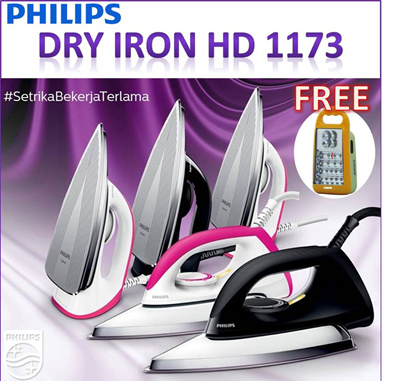 PHILIPS SETRIKA HD 1173/40 FREE CMOS EMERGENCY LAMP HK 22L