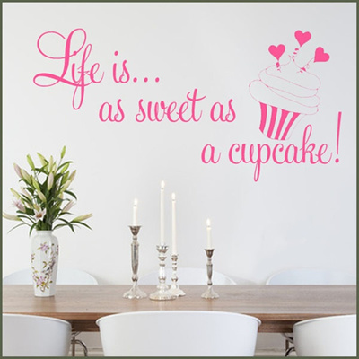 qoo10 - pink color wall decor life is as sweet as a cupcake decal