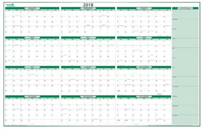 Qoo10 - PlanetSafe Planners Calendars 2018 Dry/Wet Erasable Reversable Wall C... : Stationery ...